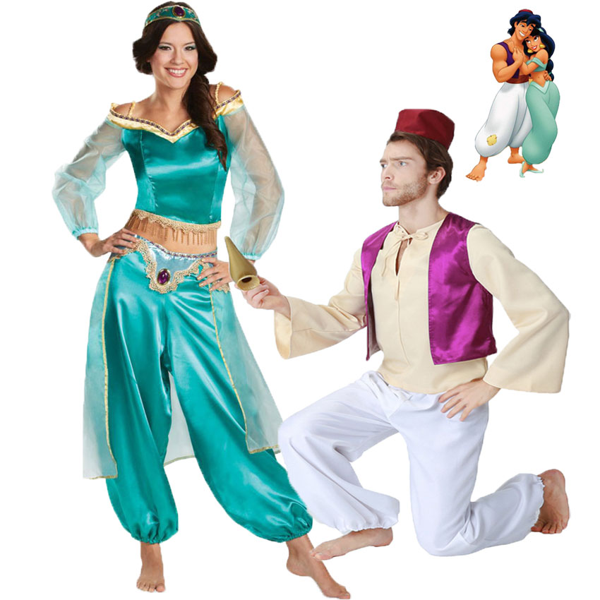 Umorden Fairy Tale Aladdin Lamp Aladdin Costume Princess Jasmine Costumes For Adult Men Women Couple Arabian Clothing