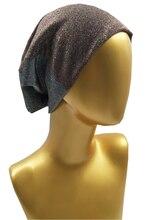 B17827 Новые весна набор хорошо стретч золотой металлик спандекс shimmer шапочки мода твердые браун головные уборы девушки шляпы для женщин
