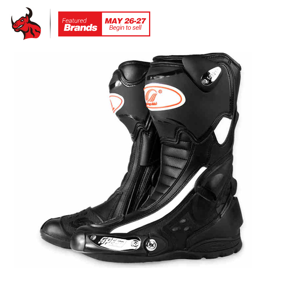 Riding Tribe Men's Motorcycle Riding Boots Speed Leather Motorcycle Boots Motocross Boots Black Red Blue куртка для мотоциклистов riding tribe