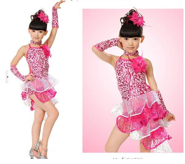 Stage performance red blue pink fashion rumba latin cha-cha dance dress tango samba 110-160cm professional girl child costume