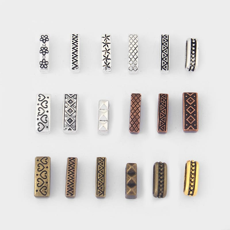 10pcs Antique Silver/Bronze/Copper/Gold Flat Charms Slider Spacer Beads For 10*2mm Flat Leather Cord Bracelet Jewelry Findings