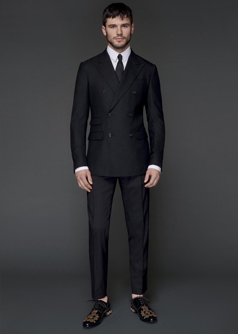 Bridegroom Suits Double Breasted Peaked Lapel Colour Black Men Tuxedos Two Pieces (Jacket+Pant) Business Clothing Costume Homme