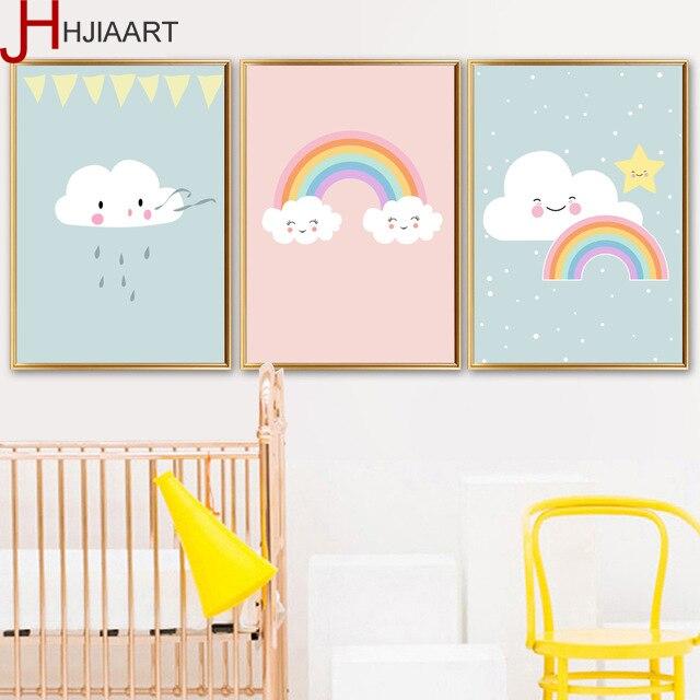 Us 7 99 Framed Cloud Rainbow Nordic Poster Wooden Hanger Wall Art Painting Minimalist Cartoon Canvas Art Nursery Room Decoration In Painting