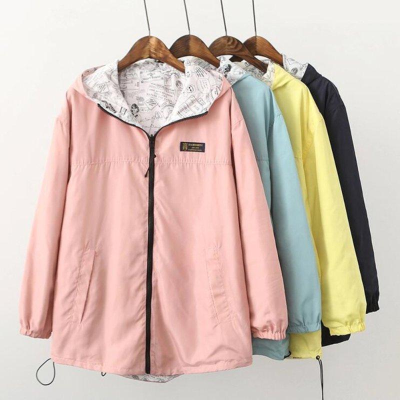 2018 Spring Fashion Women Bomber   Basic     Jacket   Pocket Zipper Hooded Two Side Wear Cartoon Print Outwear Loose Plus Size