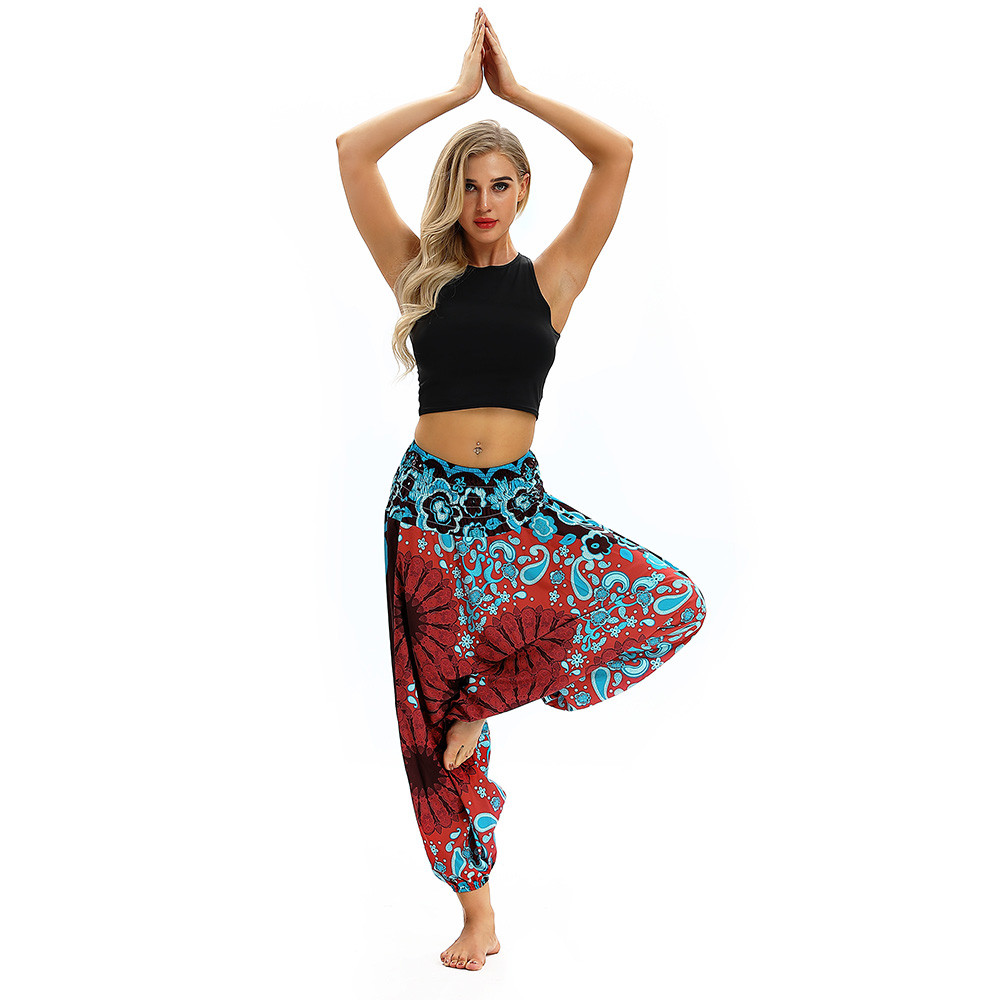 Women Men Pants Casual Woman High Waist Wide Leg Harem Trousers Baggy Boho Loose Aladdin Festival Hippy Jumpsuit Print Lady pant 50