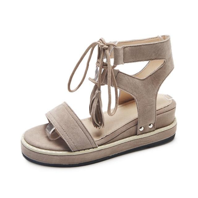 Compensés Lacets De À Chaussures Talons Femmes 2018 Nouveau Gommage Poisson Sandales 7gfyb6