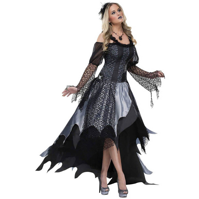 Adult Spiderweb Sorceress Witch Costume Gothic Evil Spellcaster ...