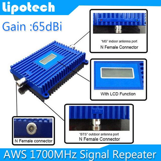 2016 nueva Actualización LCD 3G AWS 1700 Mhz AWS Señal Del Teléfono Móvil Repetidor de Señal de refuerzo, 4G 1700 Mhz Teléfono Celular Amplificador De Señal