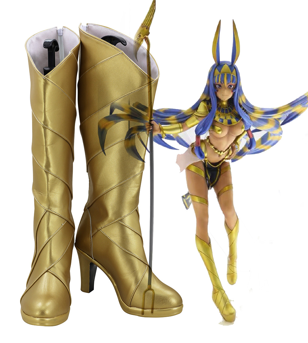 FGO Nitocris Shoes Cosplay Fate Grand Order Nitocris Cosplay Boots Golden Shoes High Heel Custom Made