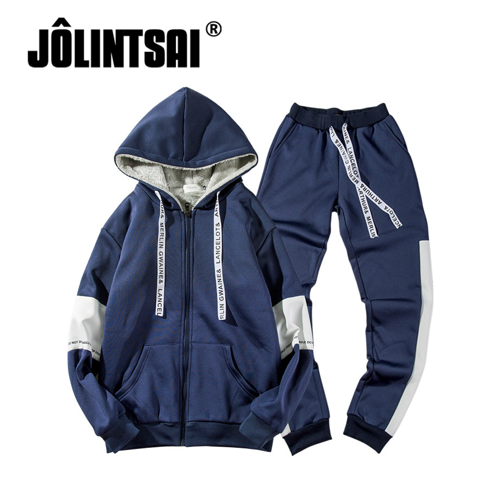 Winter Men s Tracksuit with Fleece Two Piece Sets 5XL Thick Hooded Jacket Pants Sporting Suits