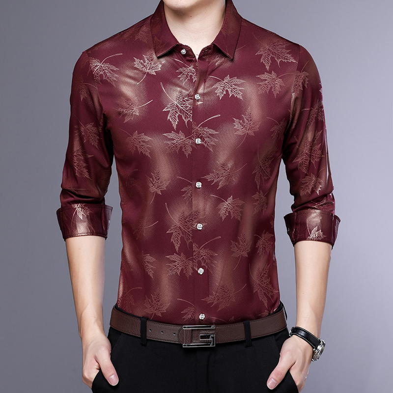 MIACAWOR Original Men Shirt Fashion Print Dress Shirt Slim Fit Camisa Masculina Full Sleeve Casual Men Shirt C413 4