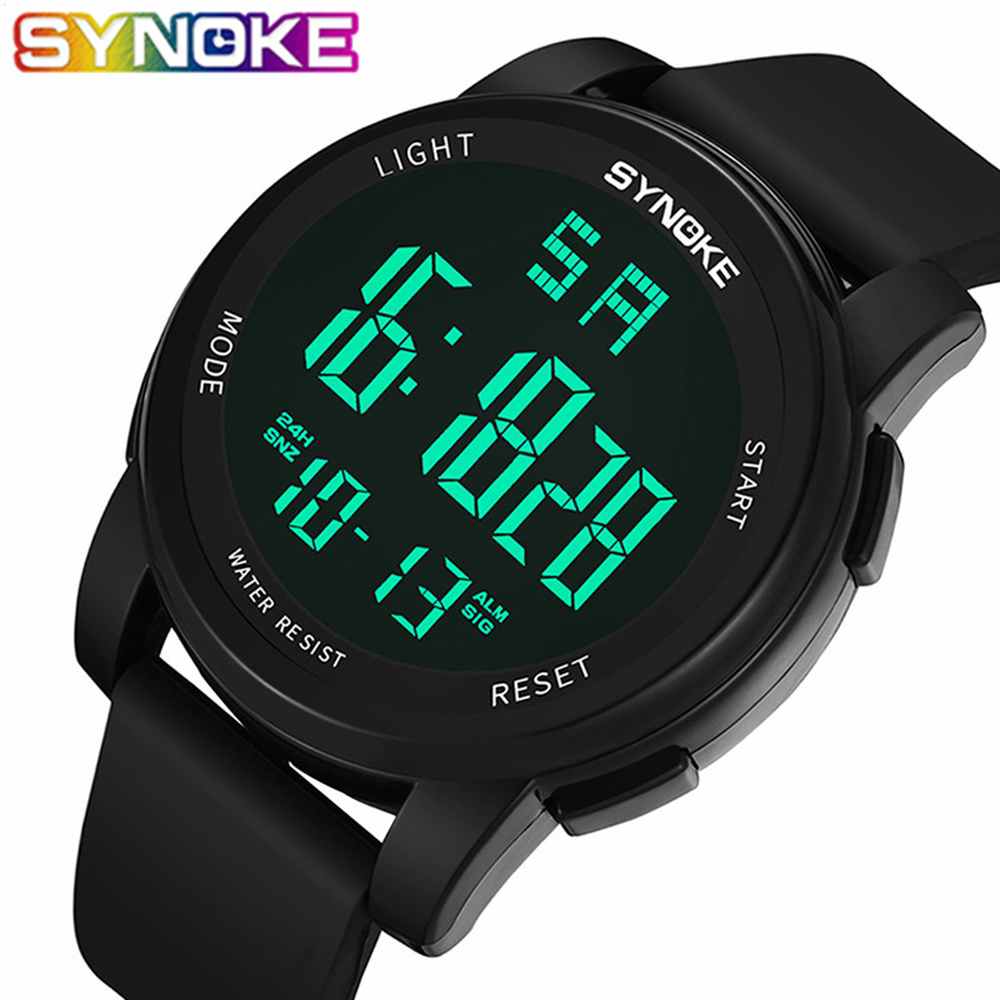SYNOKE Digital font b Watch b font Men font b Watches b font LED Waterproof Digital