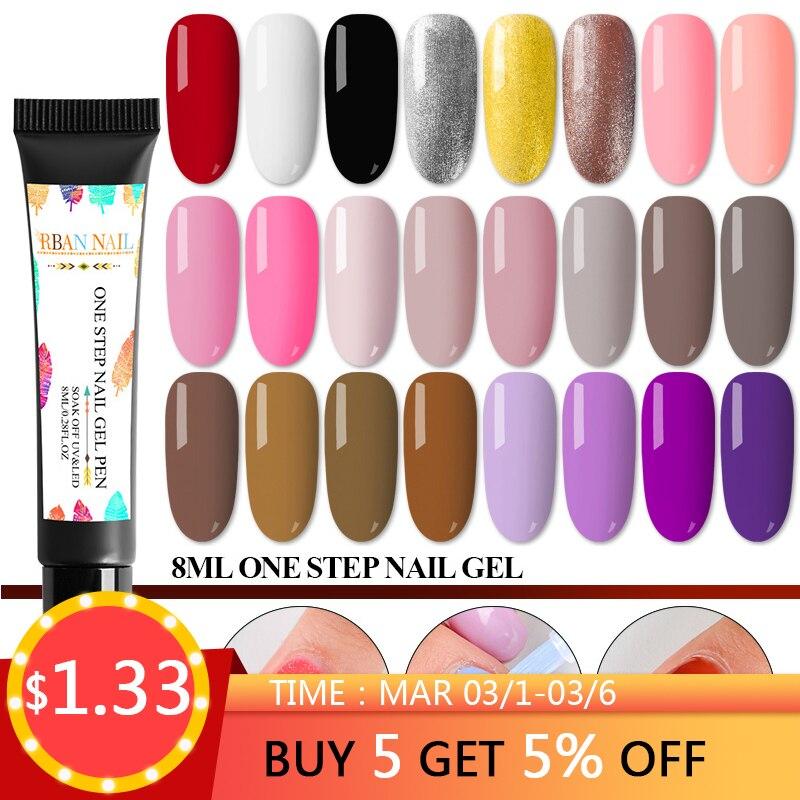 bc86eb257ae RBAN NAIL 8ML 3 In 1 Gel Nail Varnish Pen Glitter One Step Nail Art Gel  Polish Hybrid 60 Colors Easy To Use UV Gel Lacquer