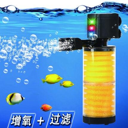 3 en 1 Ultra silencieux aquarium filtre plongée pompe à oxygène le filtre intégré baril réservoir Submersible pumpaquarium purificateur d'eau