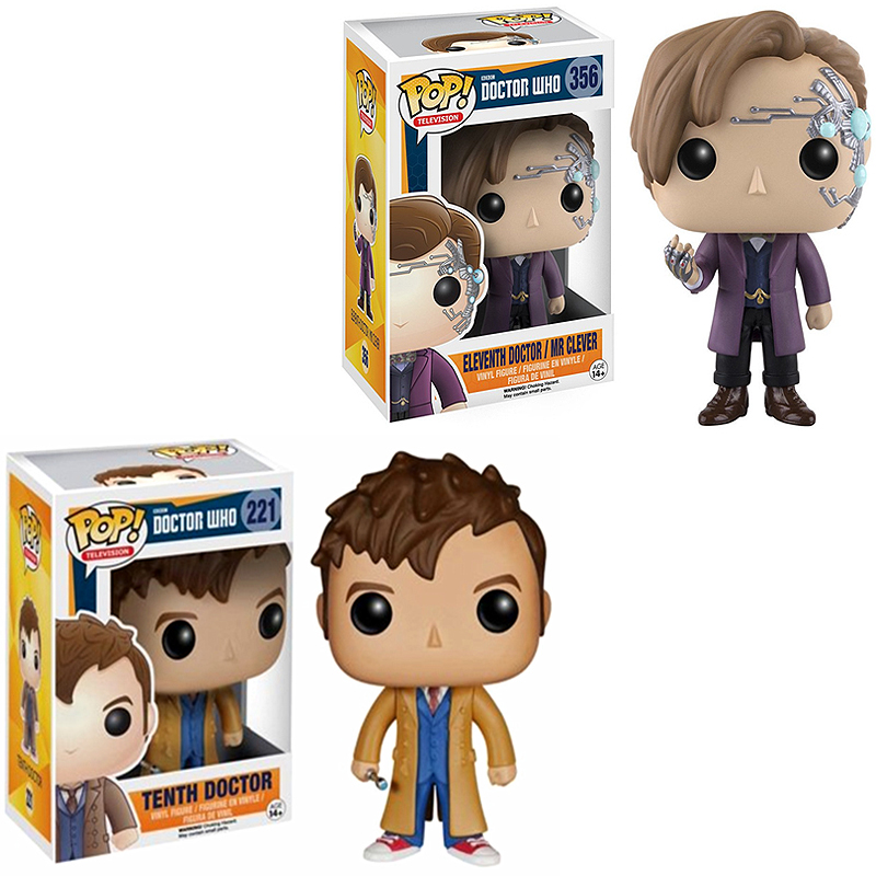 Funko POP Who Eleventh Doctor / Mr Clever & Tenth Doctor Figure PVC Action Collection Model Children Toys For Kids Birthday Gift