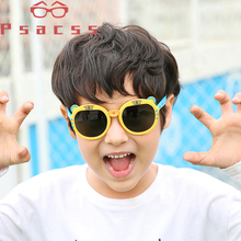 Psacss NEW Cute Tiger Polarized Sunglasses Kids Silicone Frame Boys Girls Sun Glasses Childrens Vintage Sunglass Gafas Infantil