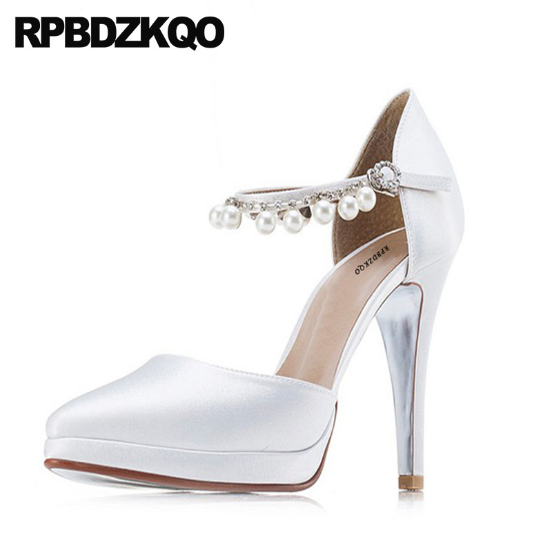 f8c0579b87cbba Pumps White Ladies Scarpin Ankle Strap Wedding Ultra Extreme Ivory Bridal  Shoes Silk High Heels Pearl
