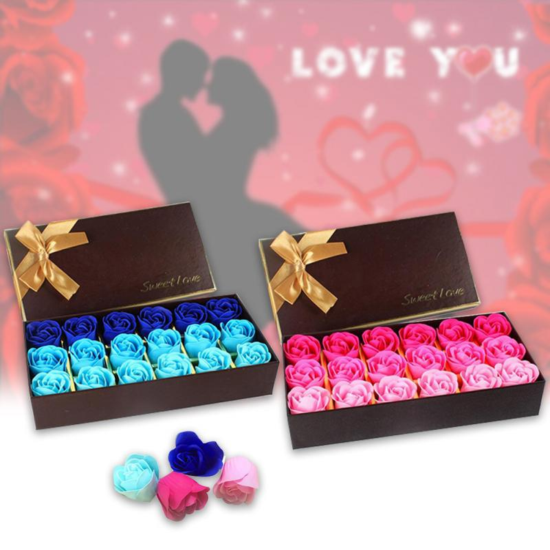 Купить с кэшбэком 3 Colors 18Pcs/box Simulation Rose Soap with Gift Box Women Girl Bath Facial Soap Valentine's Day Birthday Wedding Gifts