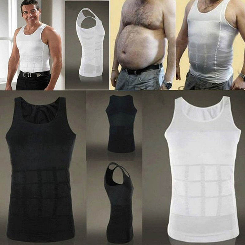 Men Corset Body Slimming Tummy Shaper Running Vest Belly Waist Girdle Shirt Black Shapewear Underwear Waist Girdle Shirts S-2XL