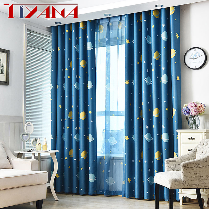 US $4.84 30% OFF|Cartoon Blue Planets Curtains For Living Room Custom Made  Blackout Kids Curtain Fabric For Boys Bedroom Finished Cortinas WP3553-in  ...