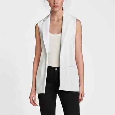 2018 office za women W8201 lady Women's Causal Vest turn down collar long Sleeveless Jacket solid color female's slim Blazer