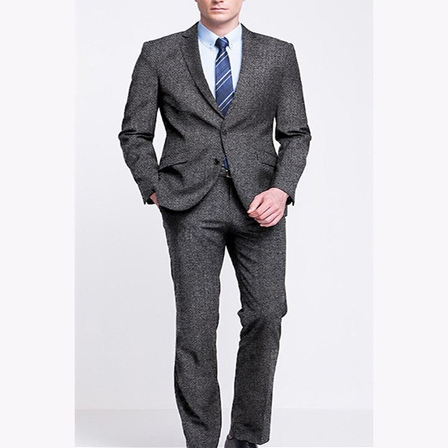 Latest Grey Groom Tuxedo 2 Piece Slim Fit Wedding Prom Dinner Suits For Men Groomsman Blazer Mens Suit Terno Masculino