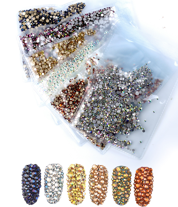 ss3-ss30 Mix Sizes 1440pcs/Pack Crystal Clear AB Non Hotfix Flatback Nail Art Rhinestones For Nails 3D Decoration Gems