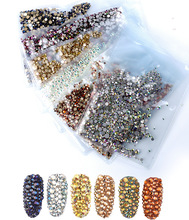 ss3-ss30 Mix Sizes 1440pcs/Pack Crystal Clear AB Non Hotfix Flatback Nail Art Rhinestones For Nails 3D Nail Art Decoration Gems mix sizes opal colors crystal glass non hotfix flatback rhinestones strass nail art nails accessoires nail art decoration