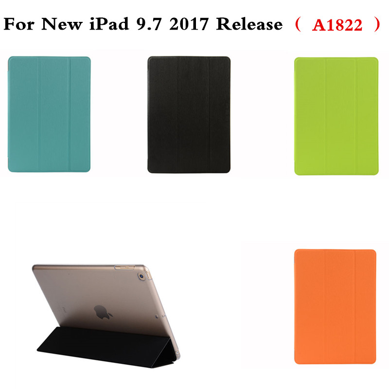 Fashion Ultra Slim Front PU leather Smart Cover with Transparent Plactic Back Skin Case For New iPad 9.7 inch 2017 Release A1822 scolour hot soft gel tpu skin silicone back case cover silk slim clear transparent smart back cover for ipad mini 1 2 3 retina