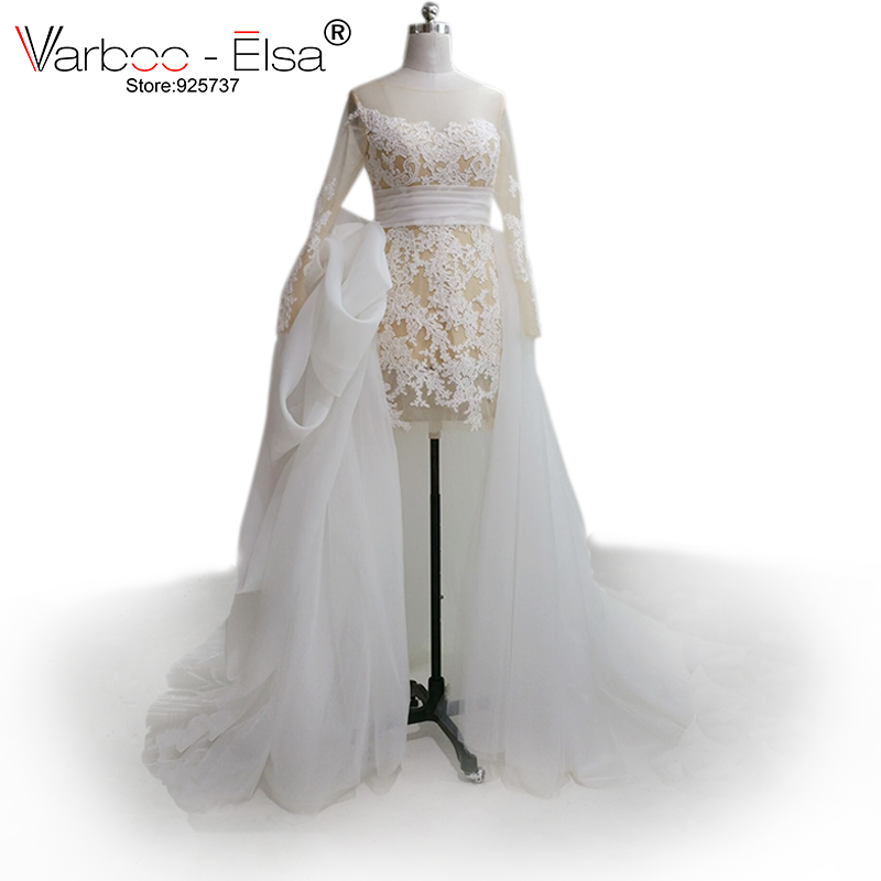 Vestido Novia 2018 Tulle Train Detachable Skirt Wedding Dress Short Front Long Back Applique Long Sleeve Lace Wedding Dress