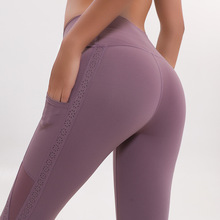 Women Sports Yoga Leggings Running Pants with Good Quality Stretch Fabric Mesh Outside Pockets Sexy Tight Free Shipping