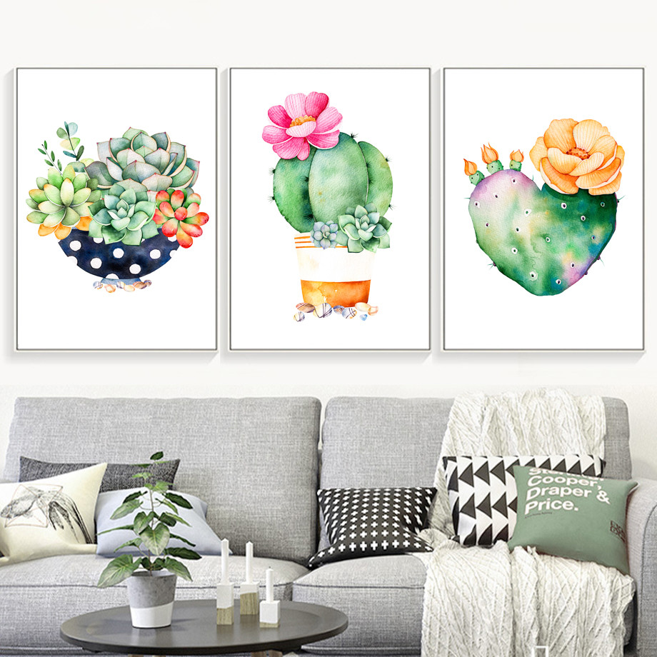AFFLATUS-Cactus-Succulent-Plant-Canvas-Painting-Nordic-Poster-Wall-Art-Prints-Watercolor-Wall-Pictures-For-Living (3)
