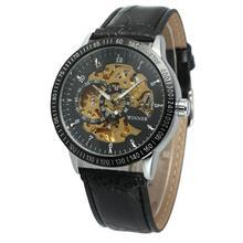 цена Men Business Hollow Skeleton Dial Faux Leather Automatic Mechanical Wrist Watch mechanical watch онлайн в 2017 году