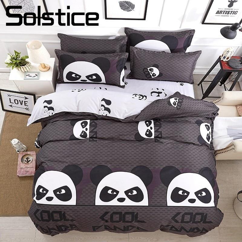 Solstice Home Textile Cool Panda Bedding Set Kid Teen Adult Boy Girls Bed Linen Duvet Cover Pillowcase Bed Sheet King Queen Twin