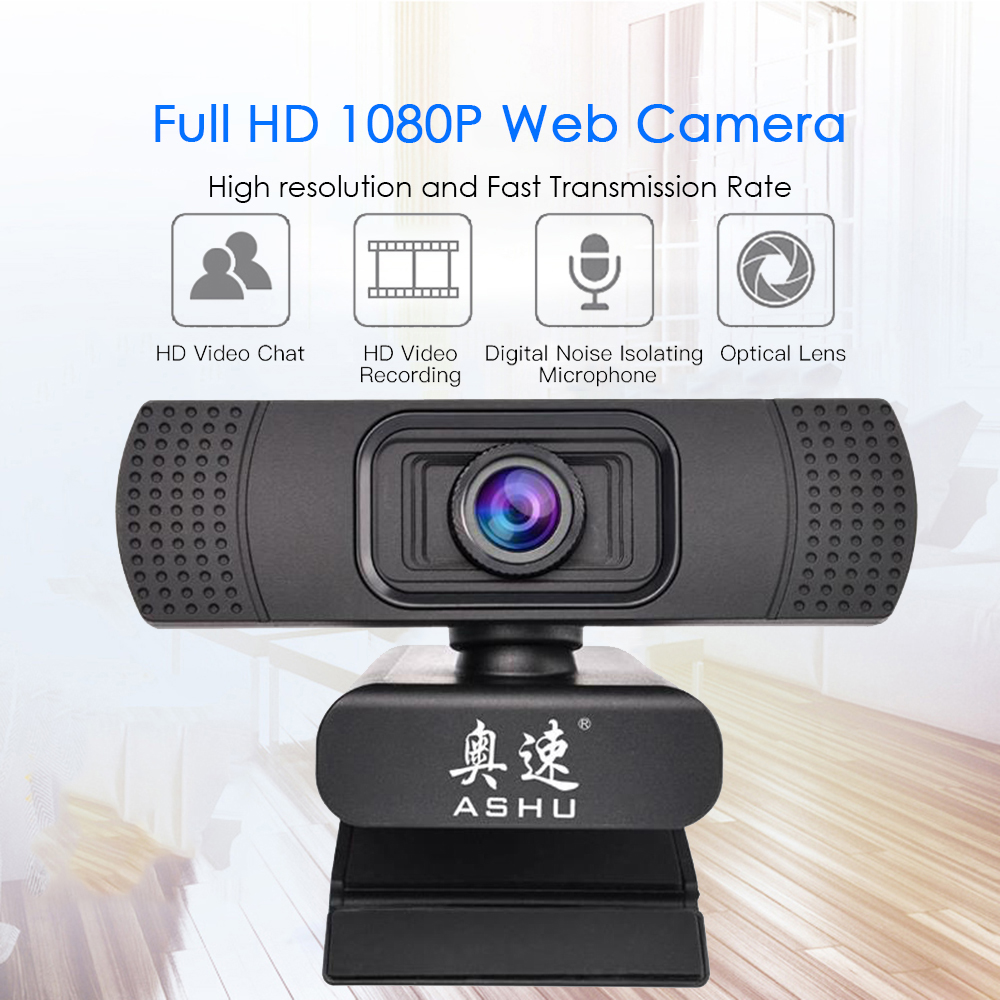 USB 2.0 Web Digital Camera Webcam Full HD 1080P Webcams with Microphone Clip-on 2.0 Megapixel CMOS Camera Web Cam for Computer