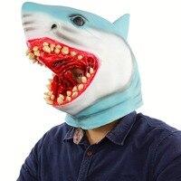 Latex Animal Mask Costume Accessory Novelty Halloween Party Head Mask Shark MaskScary Fancy Dress Party Ocean Fish Cosplay mask