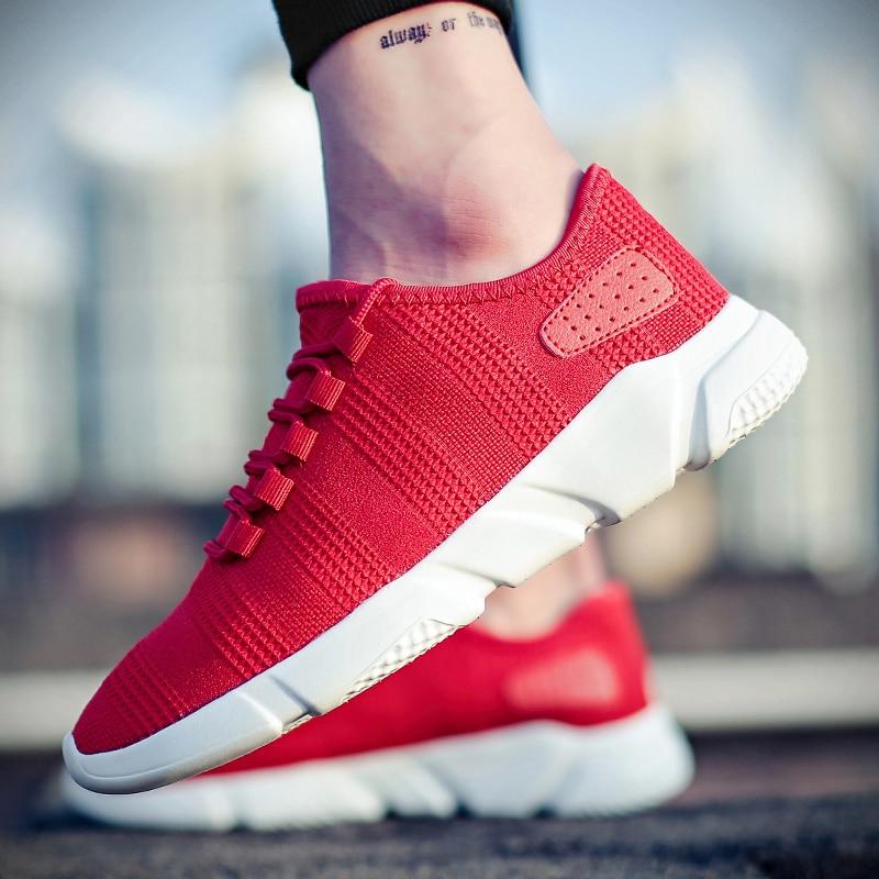 fcfa19350 Alta Qualidade do Esporte Dos Homens Novos Running Shoes Lace-up Exercícios  leves Tênis Respirável Malha Carta Sapatos Tênis ao ar livre para Os HomensUSD  ...