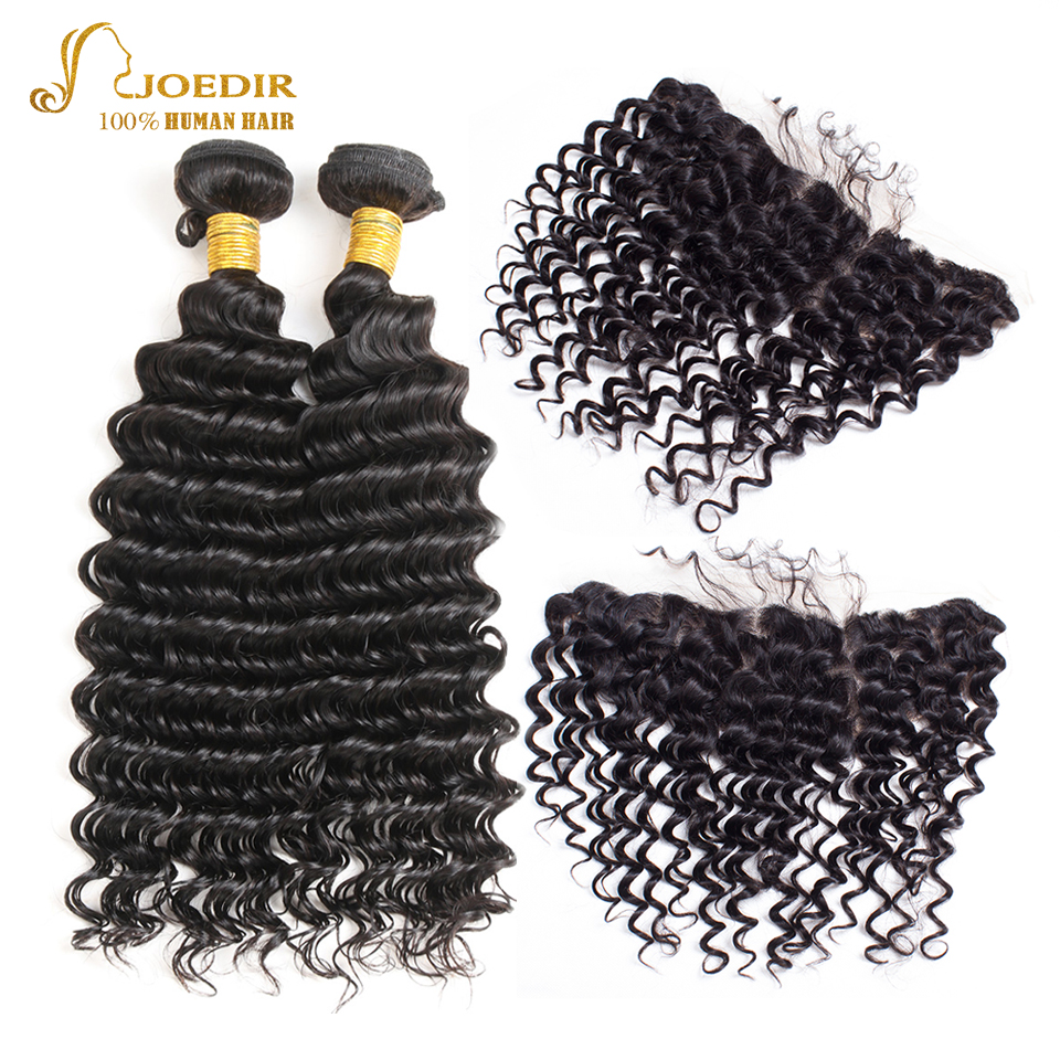 Joedir Deep Wave Bundles with Frontal Brazilian Virgin Hair 2 Bundles with Frontal Natural Black Human Hair Lace Frontal Closure