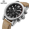 Top Brand Megir Fashion Mens Chronograph Luminous Needles Leather Strap Quartz Military watches Casual Hour Date Wrist watch