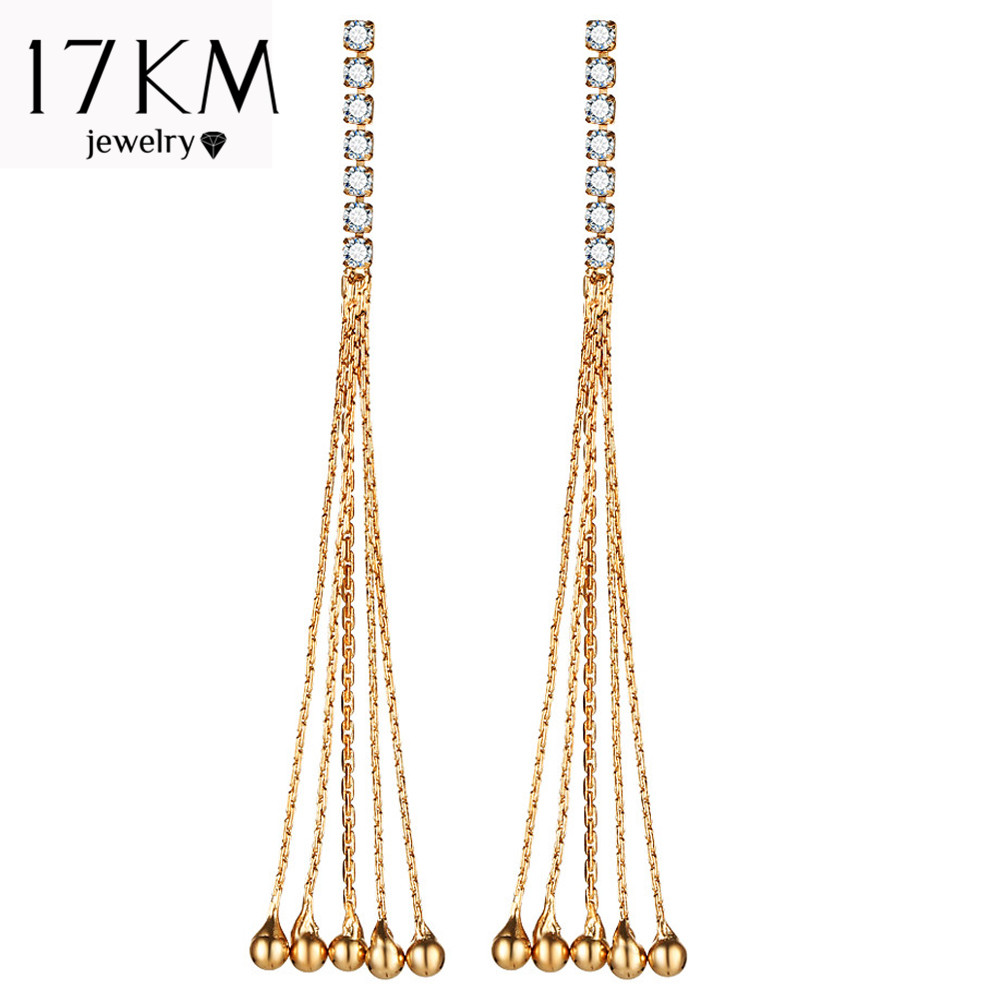 17KM Long Tassel Statement Drop Earrings For Woman Earring Cubic Zirconia Round Pendant Fashion Unique Design Wedding Jewelry