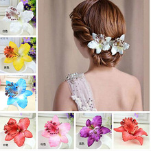 Women Girls  7Colors Bohemia Style Orchid Peony Flowers Hair Clips Beach Hairpins Accessory