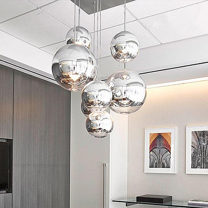 modern nordic glass globe pendant lights chrome ball pendant lamp restaurant kitchen light fixture avize luminaria - Globe Pendant Light