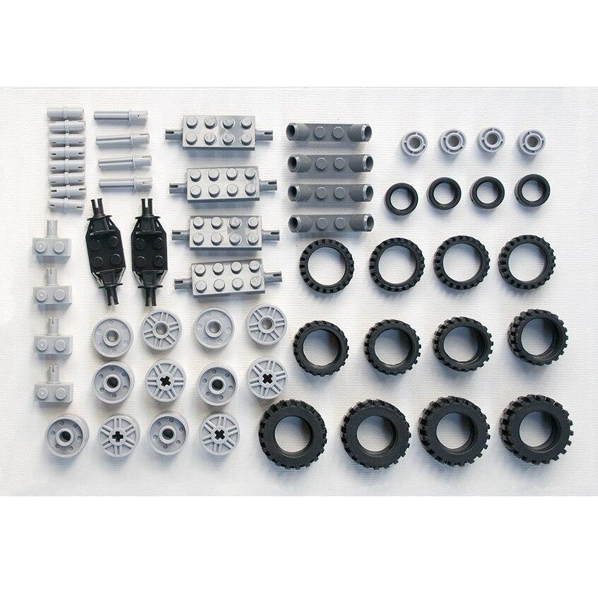 * Pack roues & jantes 2 * bricolage éclairer les briques de bloc, Compatible avec Lego assemble les particules