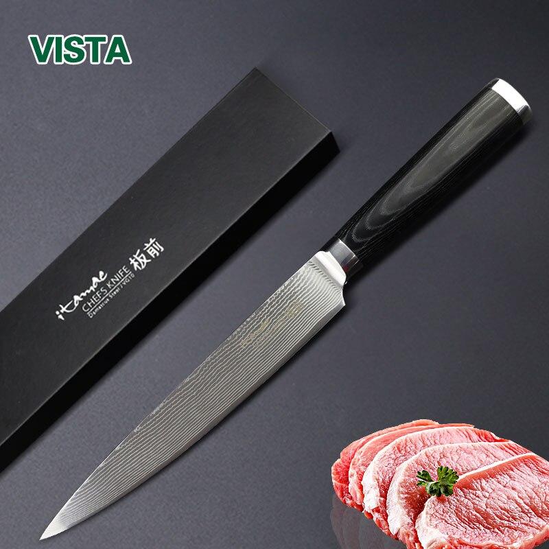 Дамаск ножи 8 резьба Ножи японский Дамаск VG10 Нержавеющаясталь ножей Кухня Ножи сверхчеткие Микарта ручки