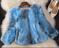 2015 New Women Fashion Rabbit Fur Jacket Genuine Rabbit Fur Coat Winter Real Fur Outwear