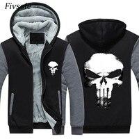 Fivsole USA Size Punisher Hoodies Men's Jacket Winter Coat Men Loose Wool Liner Fleece Skulls Print Sweatshirts Zip up Hoody Man