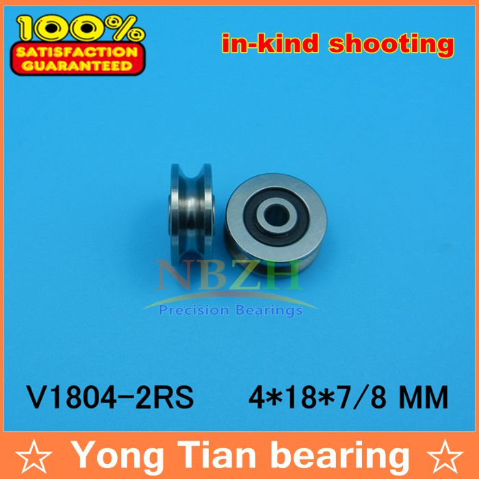 High Quality 4mm V Groove steel roller bearings JS0418U V1804-2RS U groove pulley ball bearing 4*18*8 mm V1804 0418UU high quality 6mm u groove steel roller bearings 0638uu 6 5 36 5 9 5 mm bearing 0638uu with houseing and screw