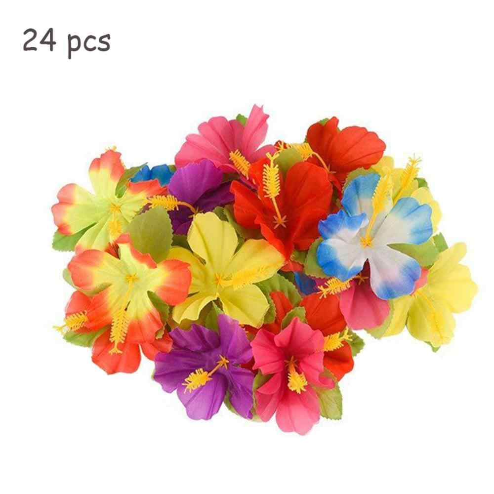 24pcs/set Artificial Flowers Fake Simulation Hawaiian Hibiscus Flower For Wedding Party Decoration Home Decor