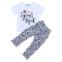 2017 г., комплект брендовой детской одежды для девочек, летняя футболка с надписью «BE YOU TIFUL» + леопардовые штаны, комплекты из 2 предметов для ма...
