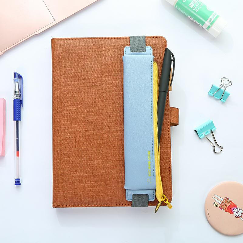 1PCS Portable Fashion Leather Elastic Buckle Pencil Case Pen Bag For Book Notebook Office School Supplies Creative Stationery